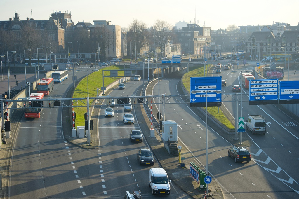 Amsterdam highway, aerial view on traffic . Netherlands