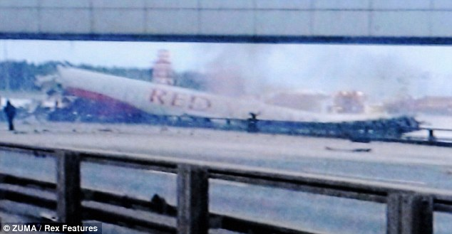 Television image: The state channel Vesti shows the airliner with its nose apparently sheared off