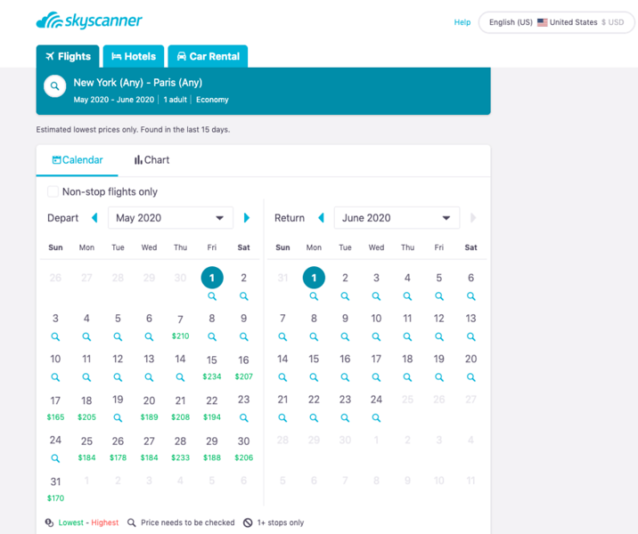 find cheapest flight anywhere - skyscanner lets you choose cheapest dates
