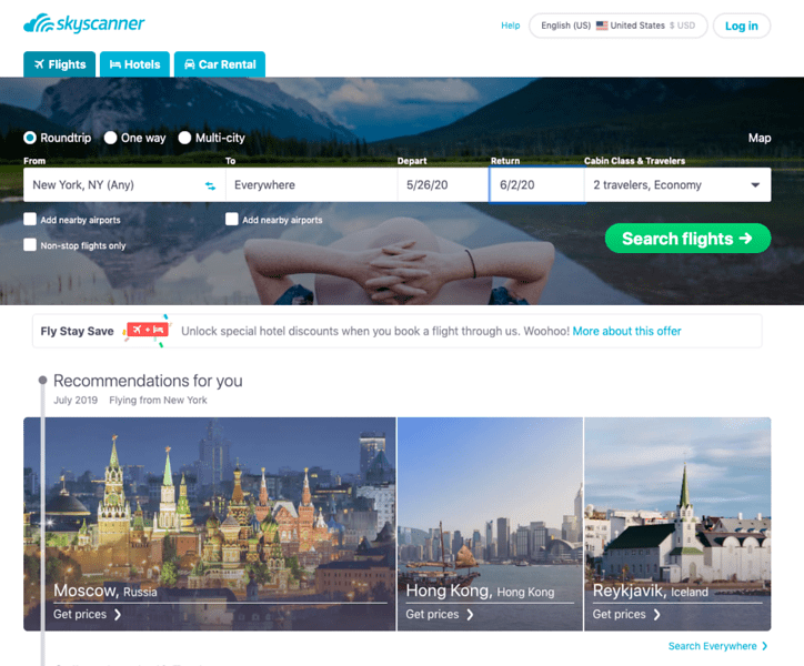 find cheapest flight anywhere - skyscanner lets you choose cheapest destination